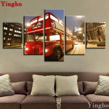 5D Diamond Mosaic Sale,Red Bus London City Night View Diamond Painting Rhinestone 5pcs Diamond Embroidery,Cross Stitch,Decor Art(China)