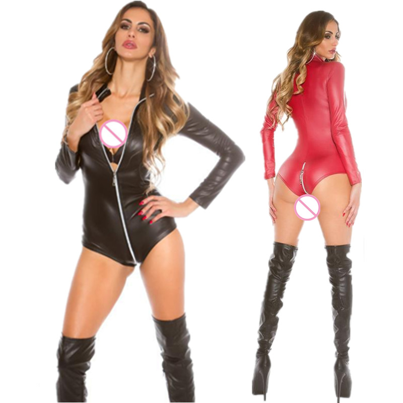 Wholesale Womens Sexy PVC Faux Leather Wet Look Bodysuit Zipper Open Crotch Teddy Leotard Pole Dance Clothing Latex Jumpsuits