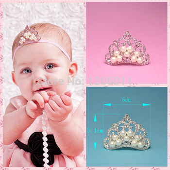 (120pcs/lot) 2 Colors FACTORY PRICE Fashion Artificial Bling Alloy Rhinestone Crown With Pearls For  Girls Tiara Headband