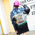 BringBring 2017 Spring Denim Jacket Women With Hole Crazy Style Letters Pattern Ripped Holes Jeans Jacket With Long Sleeves 1802