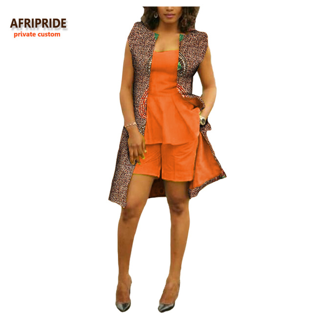 2018 african 3 pieces casual suit for women AFRIPRIDE private custom sleeveless top+short pant+knee-length coat suit A722643