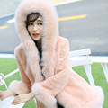 2016 Vest 2017 Covered Thick Warm Fur Slim Full Hot New Rabbit Hair Hooded Fur Coat In The Long Section Of Korean Imitation Fox
