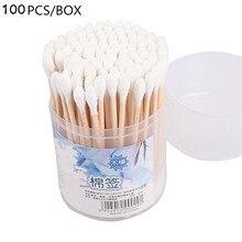 100pcs Double Head Women Beauty Makeup Cotton Swab Cotton Buds Make Up Wood Sticks Nose Ears