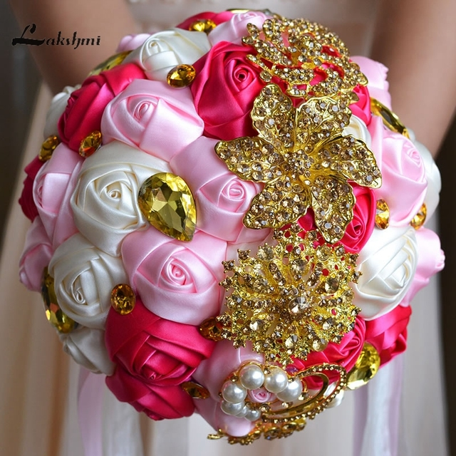 Luxury Gold Crystal Brooches Wedding Bouquet Silk Roses Pearls Bridal Bouquet with Colorful Rhinestones