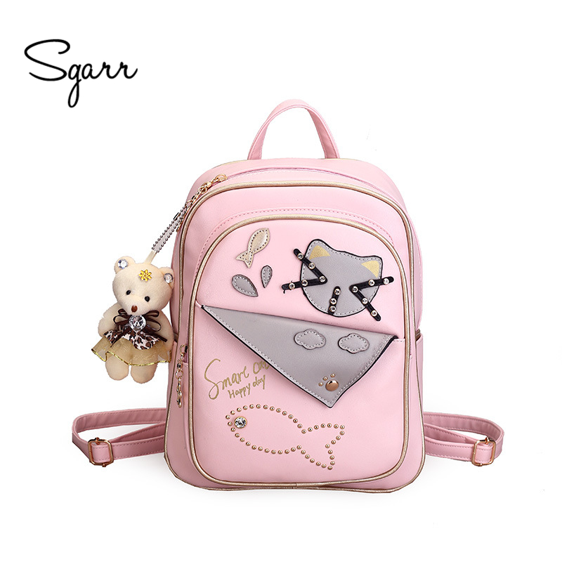 SGARR Rivet PU Leather Backpack Women For School Teenager Girls Bag Fashion Lady Casual Small Travel Backpack Cat Bag Mochila