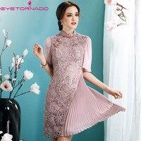 Kadın yaz çiçek Dantel nakış pilili elbise ruffled zarif seksi çalışma ofisi parti cheongsam elbiseler mor pembe XXL 7055