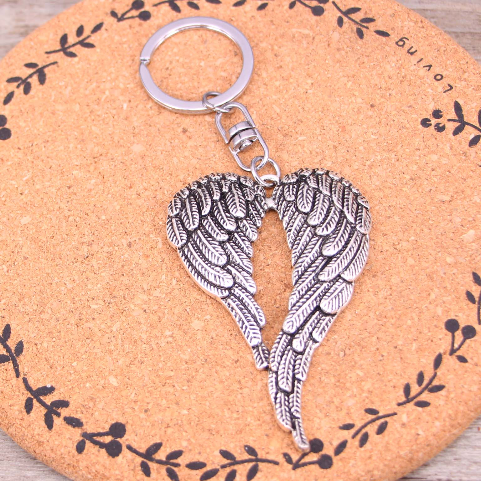 50pcs Hot sale New key chain key ring silver plated angel wings keychain for car metal
