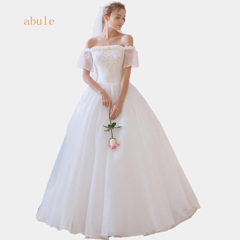 abule bröllopsklänning snyggt spets upp Elegant vacker axelfläns ärm bollkedja pärlor vestidos de noiva robe de mariage