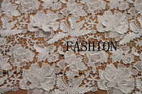 off white lace fabric with 3D flowers, ivory crochet lace fabric, venice lace fabric for bridal dress, fashion dress