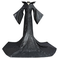 Halloween Thin Maleficent Cosplay Costume Adult Women Witch Fairy Tale Sleeping Beauty Curse Witchcraft Black Dress Horns Movie