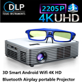 2016 Portable DLP Projector 3D 4k Chip Projector Active 3D Glass free Gift Support 1920*2205P Build-in WIFI Android4.4 Bluetooth