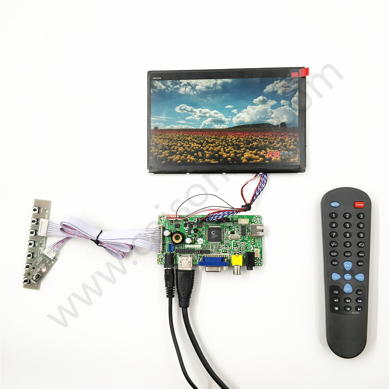 HDMI+VGA +AV +Audio LCD driver board +IPS 7inch LCD panel with 1280*800 +LVDS cable +Remote control +OSD keypad for FPV hdmi dvi vga lcd control board 14 1inch lp141wx3 1280 800 lcd panel touch pael