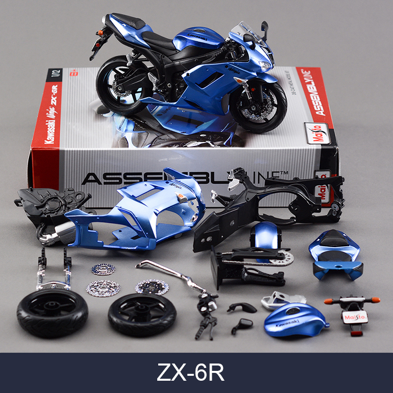 Maisto Kawasaki ZX6R Blue Motorcycle Model Kit 1:12 Scale Metal Diecast Models Motor Bike Miniature Race Toy For Gift Collection