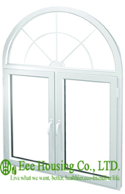 Morden White Arched Casement Window For Apartment, Arch Upvc Window With Double Glazing, Economical Arch Top Windows