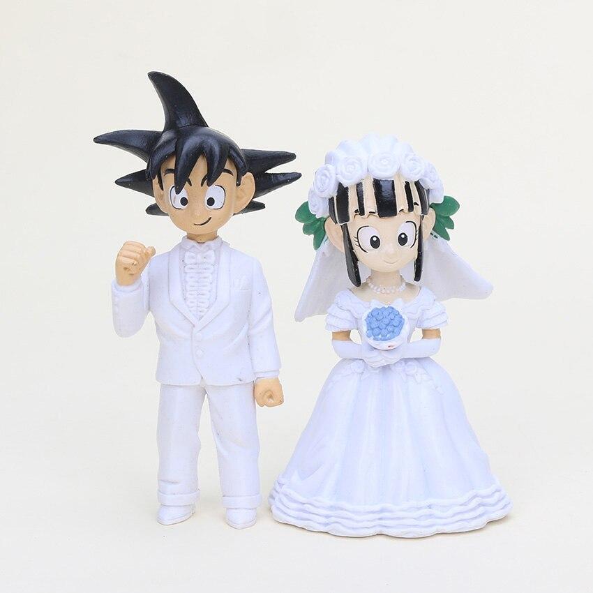 2pcs/set 7.5cm/11cm Dragonball Dragon Ball Z Goku ChiChi Wedding Set PVC Collection Action Figure Model Toys