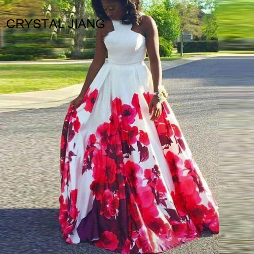 CRYSTAL JIANG 2019 Gorgeous Red Floral Printed Custom made A Line Formal Long   Prom     Dresses   vestido de fiesta