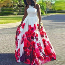 CRYSTAL JIANG 2019 Gorgeous Red Floral Printed Custom made A