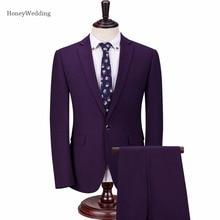 2017 г. мужские костюмы мода одна кнопка Мужская Slim Fit высокого качества Бизнес Мужские свадебные костюм жениха костюмы (Куртка + брюки)