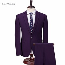 2017 Men Suits Fashion One button Men's Slim Fit High Quanlity business men Wedding suit Groomsmen Groom Suits (Jacket+Pants)