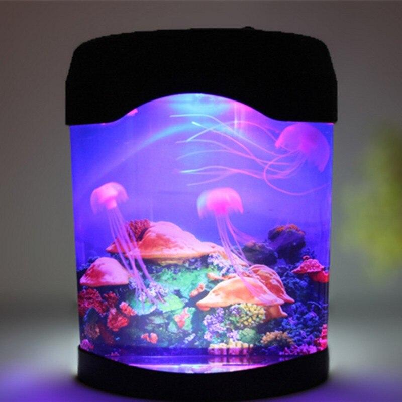 FENGLAIYI Jellyfish réservoir monde marin natation humeur lumière LED coloré Aquarium veilleuses lampe pour enfants lumières décoratives