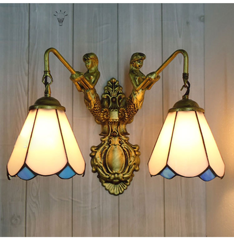 Creative Stained Glass Tiffany Mediterranean Simple LED lustre E27 mermaid wall lamp for lattice corridor aisle balcony cafe barCreative Stained Glass Tiffany Mediterranean Simple LED lustre E27 mermaid wall lamp for lattice corridor aisle balcony cafe bar