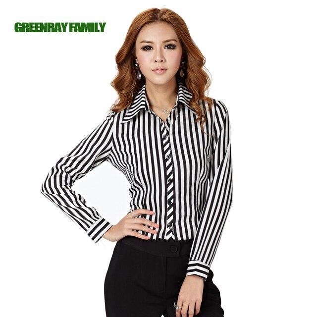 Plus Size 6XL Formal Black White Vertical Striped Women OL Shirt ...