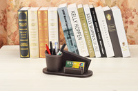 PU Leather Multi Function Desk Stationery Organizer Wooden Structure Pen Pencil Holder Remote Control Business Card