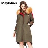 Maylofuer реальный красный лисий мех Куртка с воротником с капюшоном Для женщин теплые зимние пальто с мехом кролика лайнер