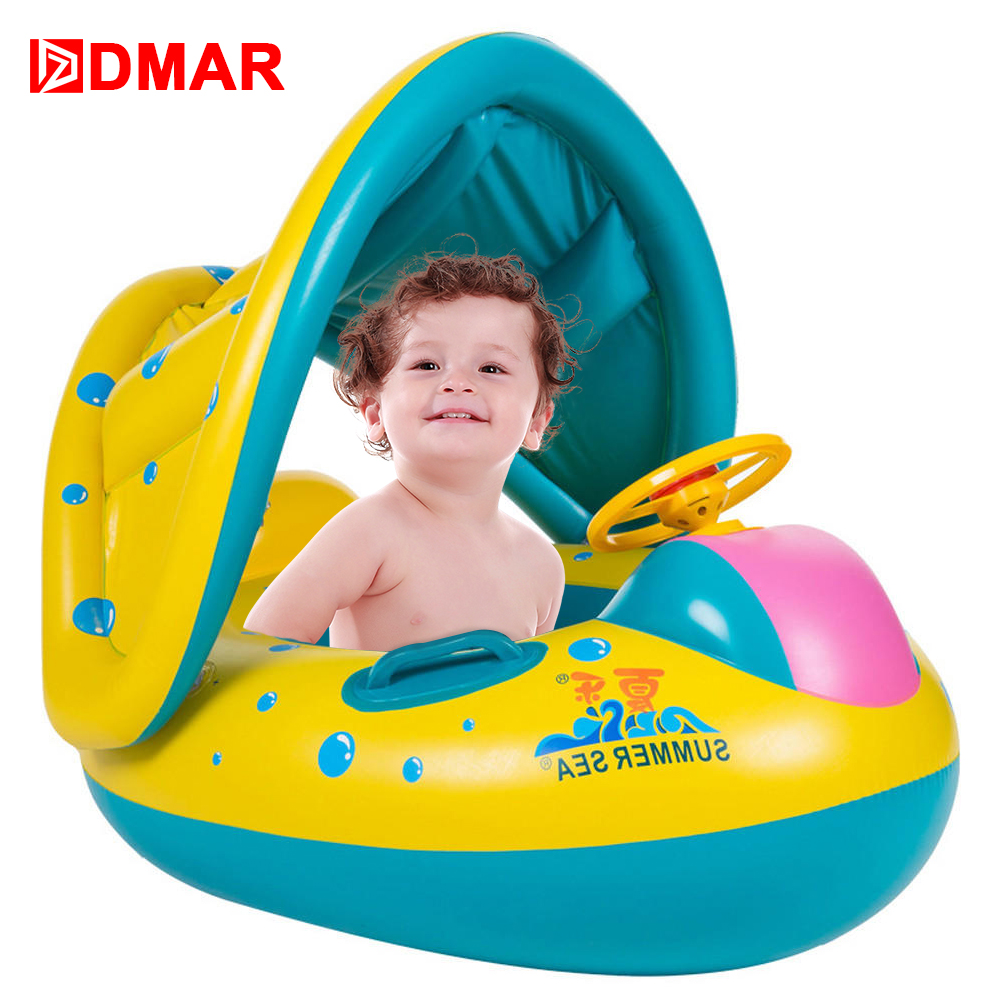 DMAR Inflatable Baby Pool Float With Canopy Boat Swimming Ring for Baby LIfebuoy for Kids Beach Sea Mattress Water Party Toys