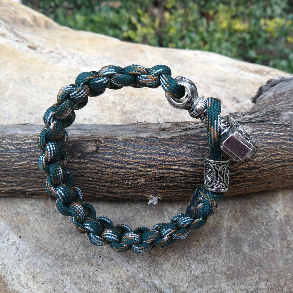 Paracord Bracelet Replaceable Norse Viking Runes Beads Braided Bracelet Men Bracelets Thor Hammer Rope Bangles for Men Jewelry (1)