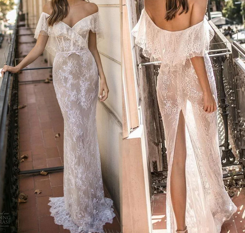 2019 Sexy Summer Lace Beach Wedding Dress Cap Sleeve Split behind Boho Vestido De Noiva Fashion See Through Lace Bridal Gowns