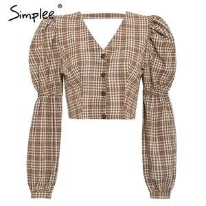 Image 5 - Simplee Vintage ekose gömlek kadın bluz seksi backless lace up kadın üst gömlek sonbahar puf kollu büyük boy bayan bluz gömlek