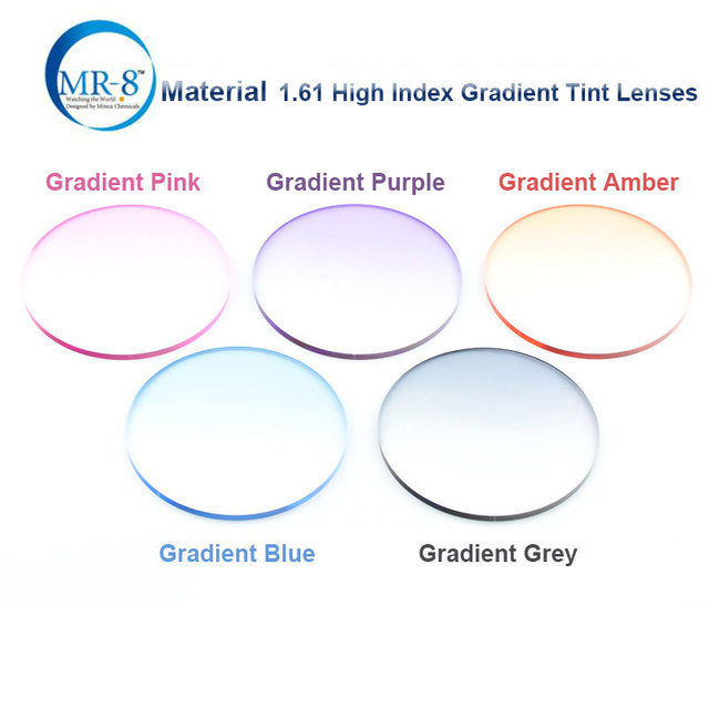 Radiation Protection 1.61 High Index MR-8 Super-Tough Gradient Tint HMC EMI Anti UV Optical Lens For Trimming Rimless Sunglasses