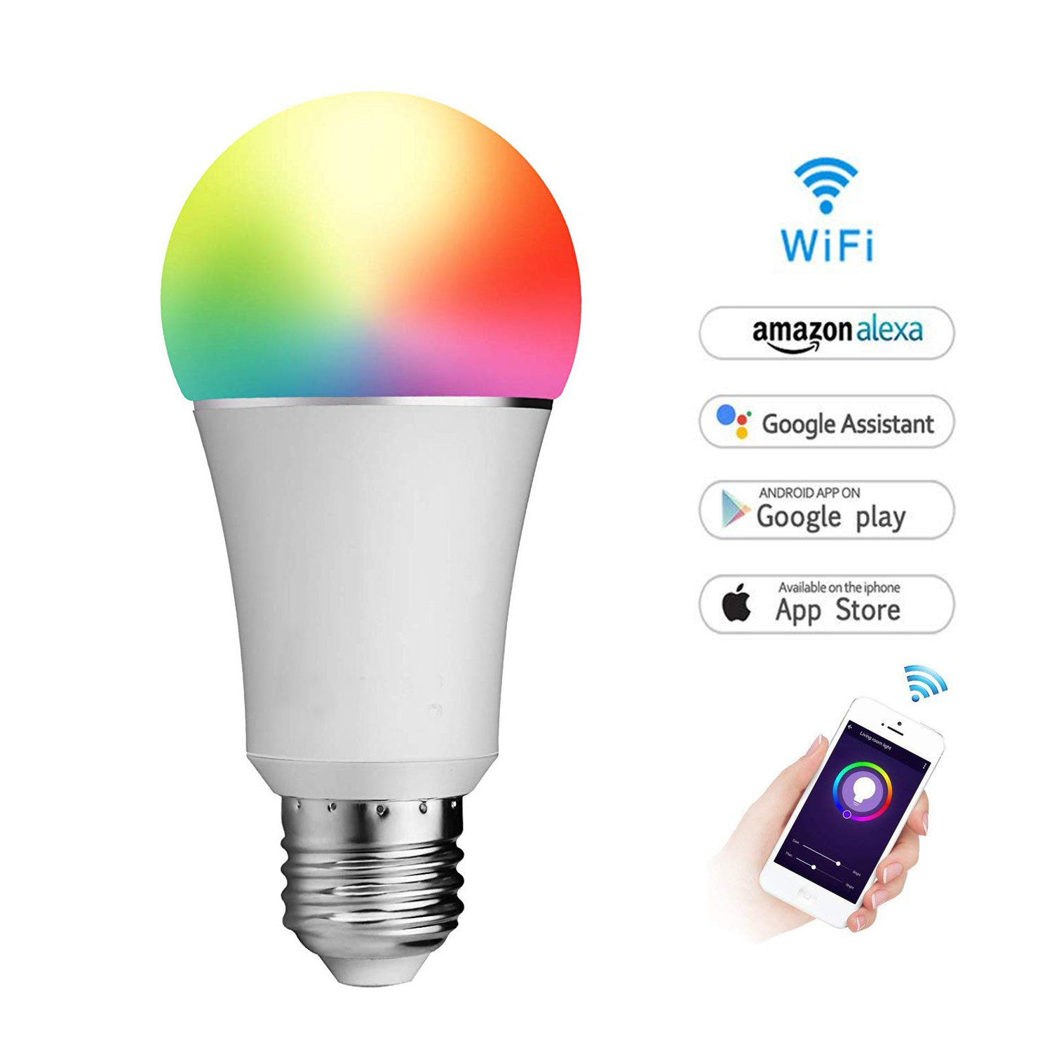 Wifi Smart Light Led Bulb E26 60w Equivalent Multicolored