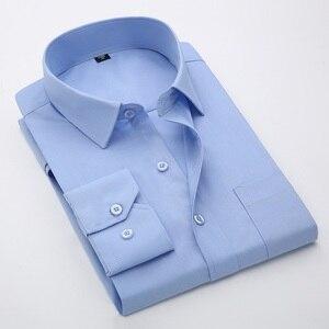 Image 3 - Artı Boyutu 5XL 6XL 7XL 8XL Sosyal İş Kolay bakım Elbise Erkek Gömlek Rahat Yumuşak Rahat Saf Renk Sarı mor Kırmızı