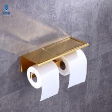 Ulgksd Bathroom Hardware Bathroom Accessories Double Storage Rack Towel Holder Toilet Paper TissueBath Paper Racks Wall Mounted