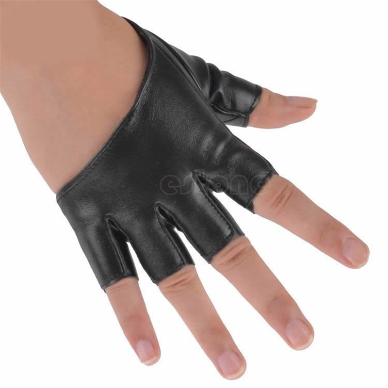 Womens Leather Semi-fingered Show Gloves Mittens Fashion Ladys Half Finger Fingerless Hot 2017 New Evening Party Gloves Solid