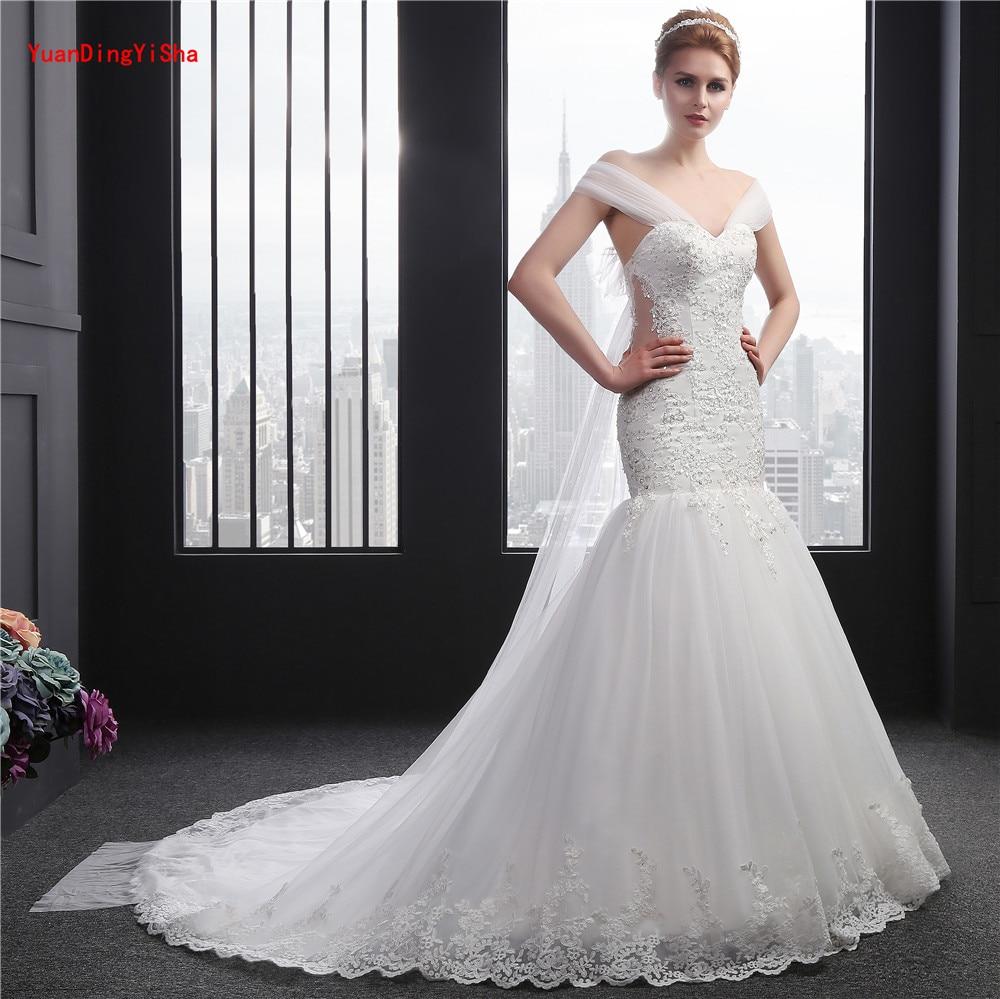 Licou perlée robe De mariée sirène 2017 photos réelles dentelle robe De mariée licou Tulle robe De mariée robe De mariée Vestido De Noiva