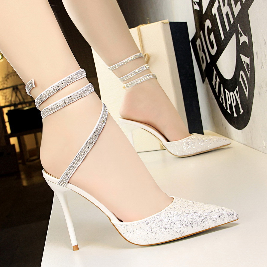 European and American Style Sexy Nightclub Shoes With High heeled Shallow  Mouth Pointed Sparkle Sequins Feet With Women Sandals-in High Heels from  Shoes on ... a12b519c196b