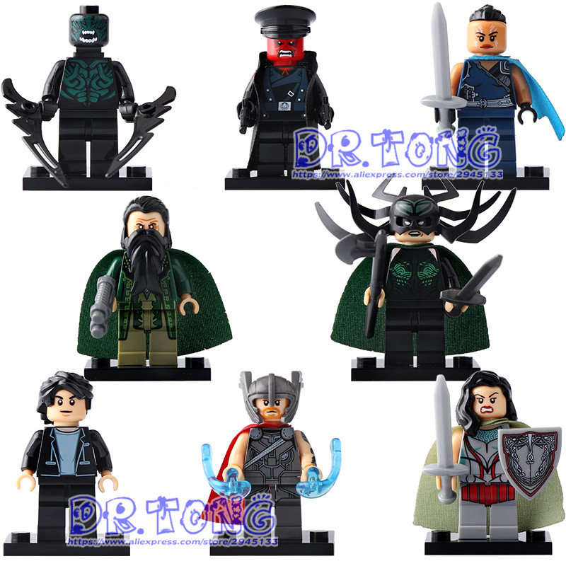 DR TONG 80PCS/LOT X0172 Super Heroes Thor Hela Sif Valkyrja Bruce Banner Red Skull Mandarin Building Blocks DIY Toys Kids Gifts single sale super heroes red skull mandarin thor grandmaster valkyrja bricks action building blocks children gift toys xh 709