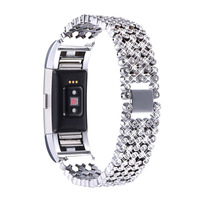 Replacement Fitbit Charge 2 Bands Metal Watchbands Watch Strap Five Beads With Diamonds Adjustable For Fitbit