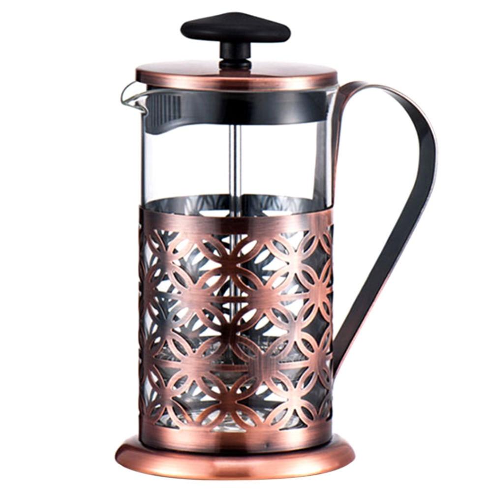 Alloet 600ml Stainless Steel Manual Coffee Maker Vintage French Press Moka Coffee Pot Brewer Teapot Filter Percolator Tool (2)