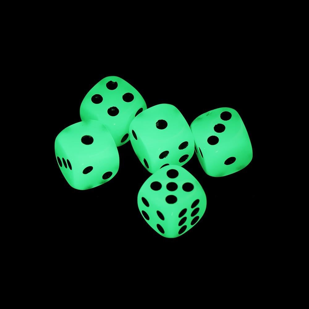 5 PCs Hot sale 14mm 6 Sided Noctilucent Dice Cubes Night Light Luminous Fun Night Bar KTV Entertainment Game Dices Wholesale(China)
