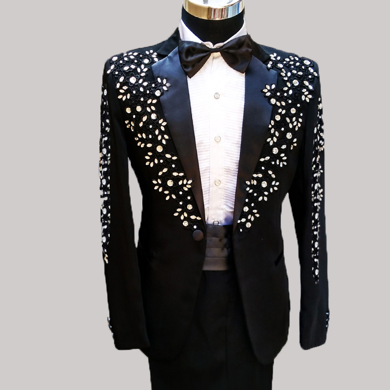 100%real Mens Full Embroidery Crystal Beading White/black Tuxedo Suit /event/stage Performance