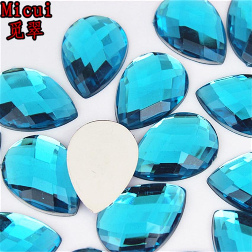 50PCS 18*25mm Drop Acrylic Rhinestones Crystal Flatback Beads ZZ592