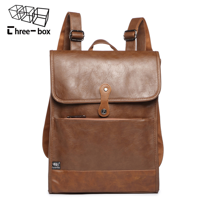 Three-box Leather Men Backpack Fashion Large Capacity Travel Bags High Quality Rucksacks Business Man's Laptop Bags Mochila new men s pu leather solid business backpack fashion casual travel high capacity