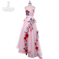 Pink Flowers Prom Dress 2018 Ankle Length Long Straps Sweetheart vestido de formatura longo Short Evening Gown Party Halloween