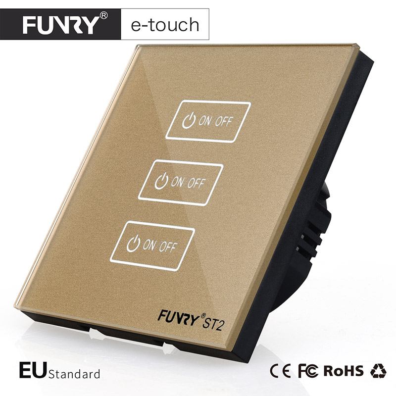 FUNRY ST2-EU Standard Luxury Crystal Glass 3 Gang 1 Way Touch Switch,Wall Switch Smart Control On-off for Home Automation smart home eu touch switch wireless remote control wall touch switch 3 gang 1 way white crystal glass panel waterproof power