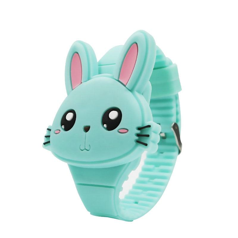1 Pcs Kids LED Electronic Watch Silicone Band Cartoon Rabbit Flip Case Wrist Watch Lovely Gift QL Sale