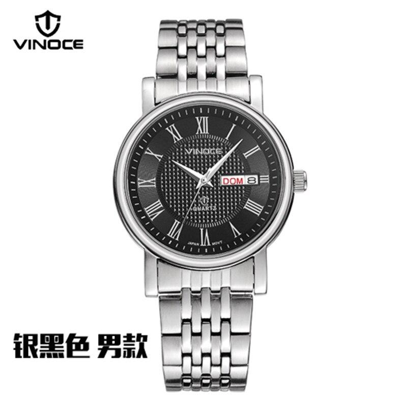 2017 New Arrival Brand Men Quartz Watch Men Clock Steel 100 m Waterproof white Case Calendar Display relogio masculino